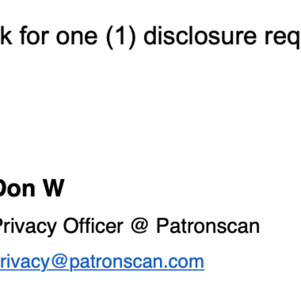 An email denial of my disclosure request
