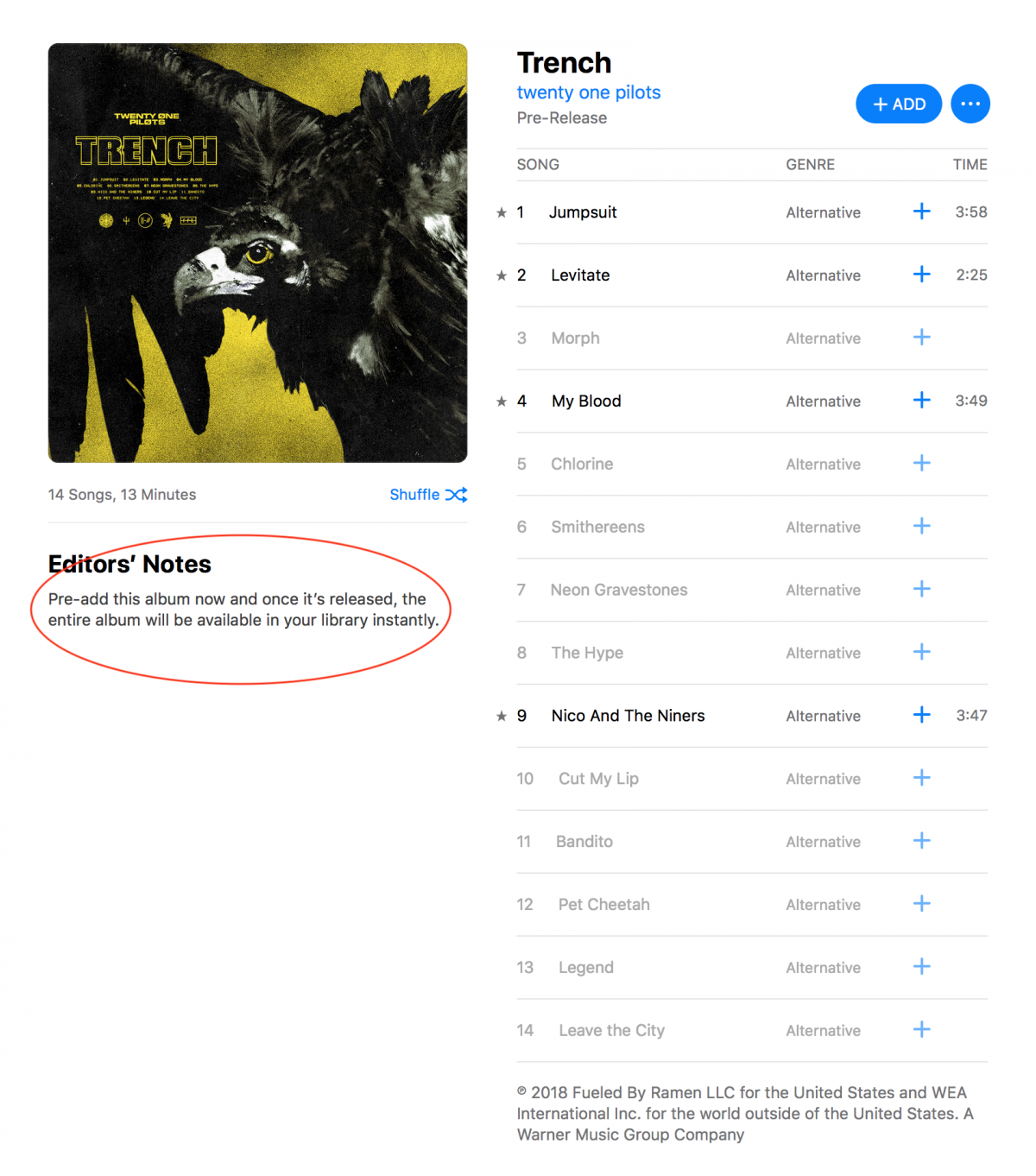 twenty one pilots' Trench pre-release on Apple Music