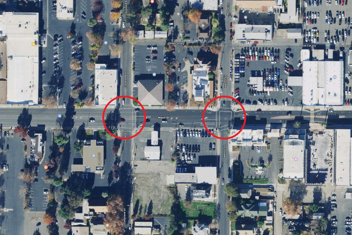Arial photo of two intersections prone to red light runners in Woodland, CA
