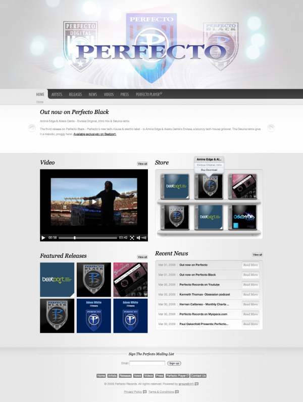 Perfecto Records home page