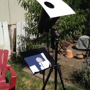 Binocular rig to project the sun